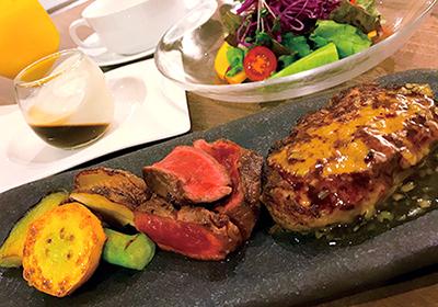 ステーキとハンバーグのランチ